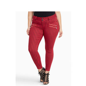 torrid Jeans - Torrid Jeans Jeggings 24 Red Black Gingham Plaid